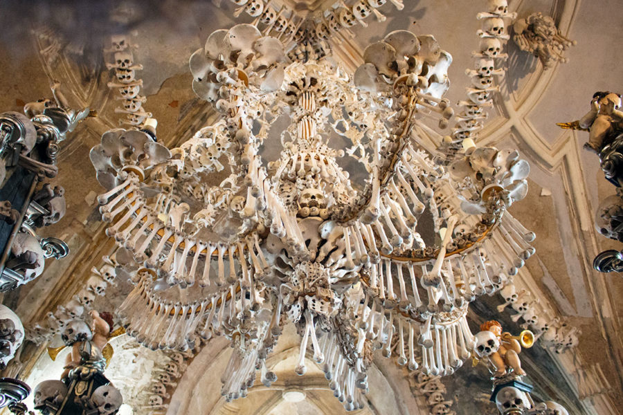 The famous chandelier made up of almost every bone in the human body | A day trip from Prague to Kutna Hora bone church