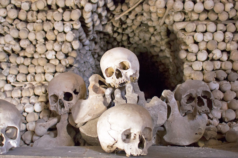Some of the many skulls you'll see at Sedlec Ossuary | A day trip from Prague to Kutna Hora bone church