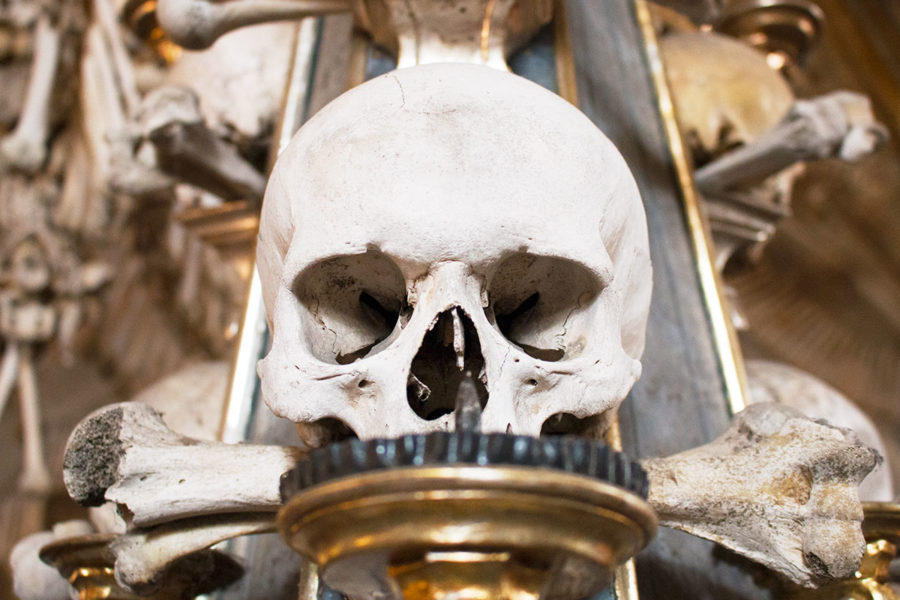 A candelabra featuring bones | A day trip from Prague to Kutna Hora bone church