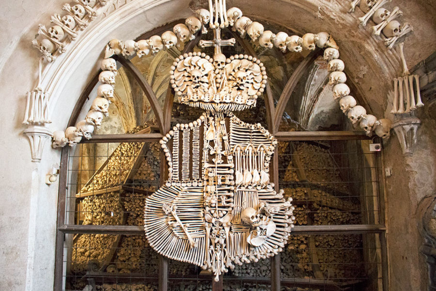 The Schwarzenberg family coat of arms executed entirely in bone | A day trip from Prague to Kutna Hora Church of bones | Sedlec Ossuary