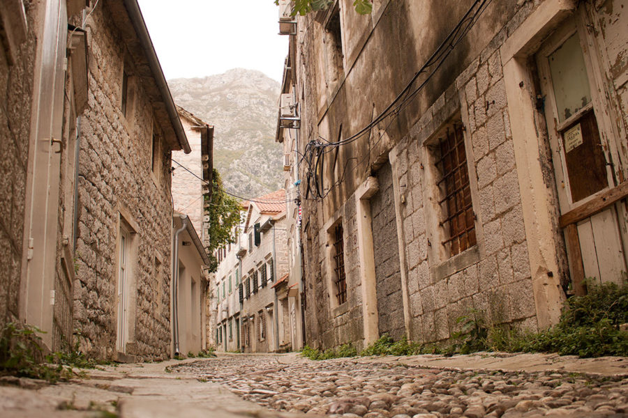 Quiet cobblestone streets of Risan, the oldest settlement in the Bay of Kotor | Things to do Kotor Bay