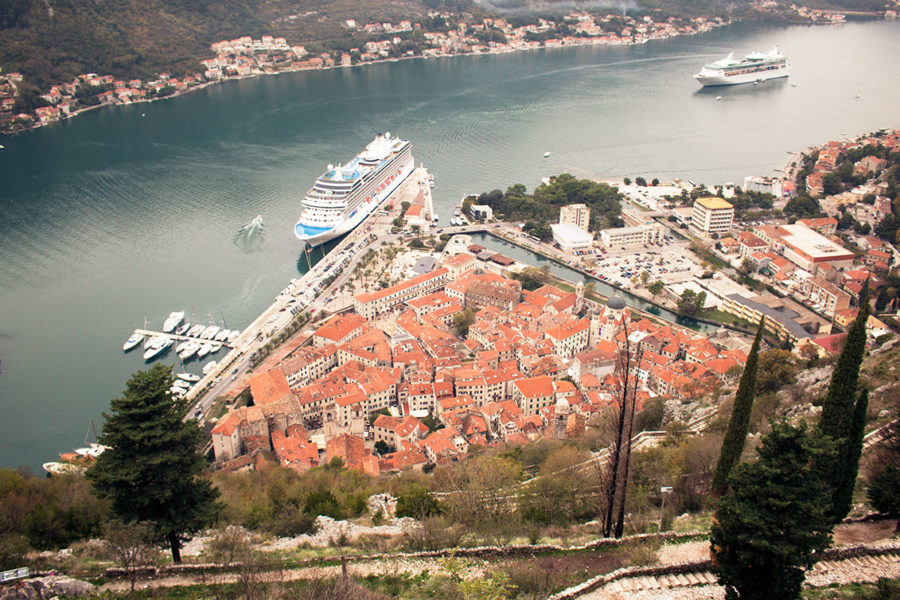 Huge cruise ships docked at the Port of Kotor | things to do in Kotor for a day
