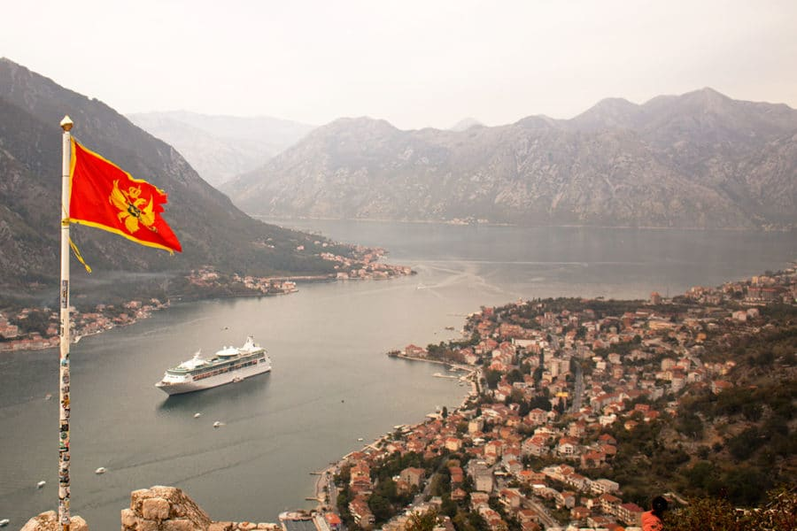 A cruise ship docked in Montenegro's Bay of Kotor | Best things to do in Kotor